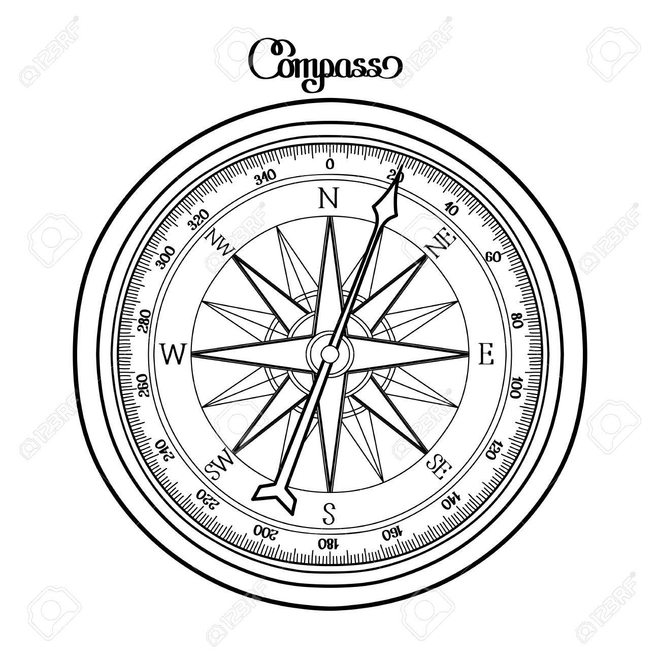 1300x1300 Coloring Book Stock Vector Illustration Black Compass Sass Color