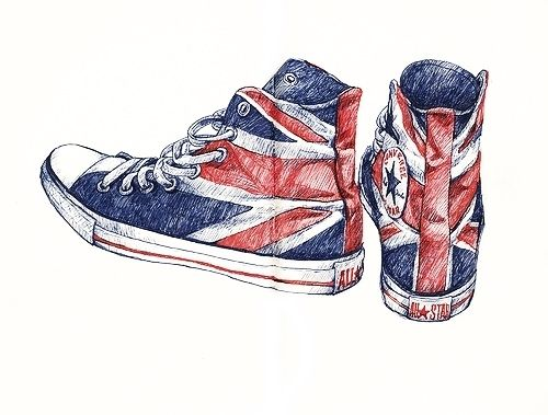 500x379 All Star, Converse, Draw, Drawing, England