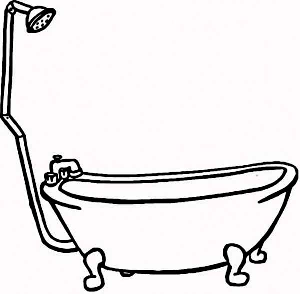 600x588 Bath Line Drawing Clipart Best X Bathtub