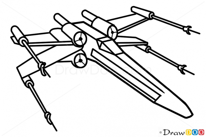665x443 How To Draw X Wing, Star Wars, Spaceships Art How To Star Wars