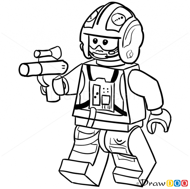 665x664 How To Draw X Wing Pilot, Lego Starwars