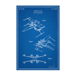 300x300 Restored Original Patent Drawing For The T X Wing Starfighter