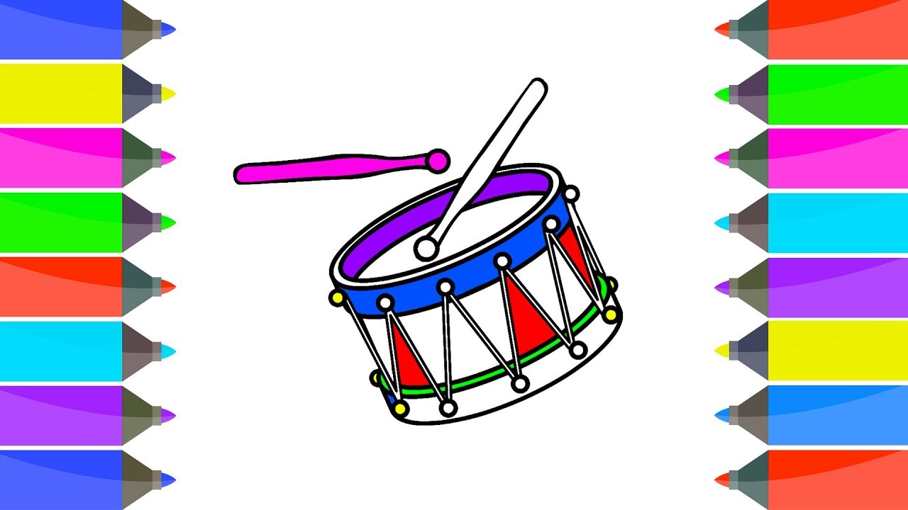 1280x720 how to draw drum easy kids learn drawing coloring pages book learn