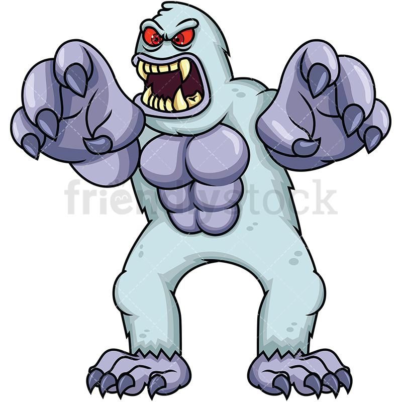 800x800 Big Angry Yeti Monster Cartoon Vector Clipart