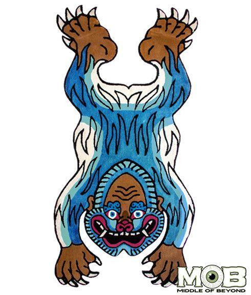 490x576 Tibetan Yeti Rug Cryptids Rugs, Tibetan Art, Art