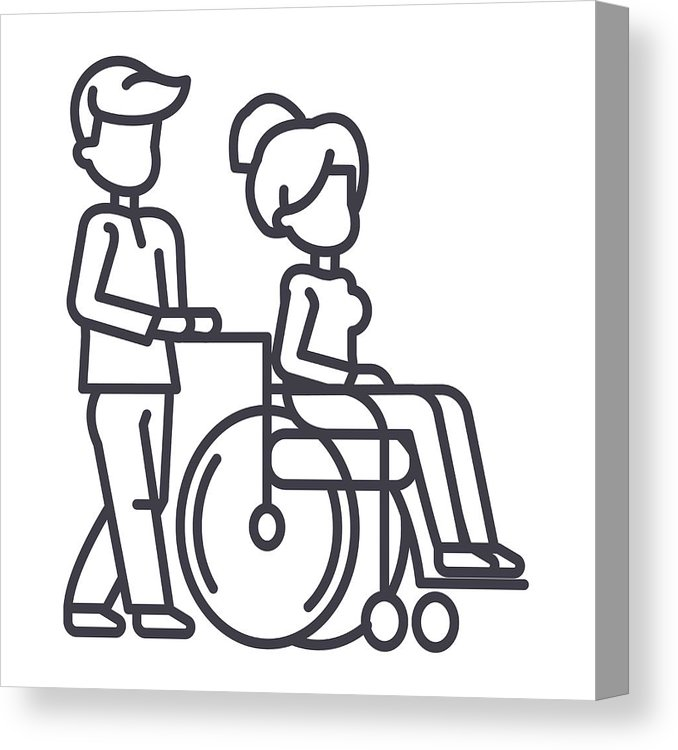 678x750 young man strolling with young woman in wheelchair,nursing care