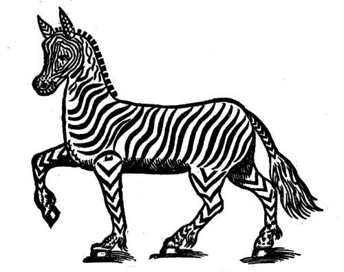 500x396 Vintage Zebra Drawing