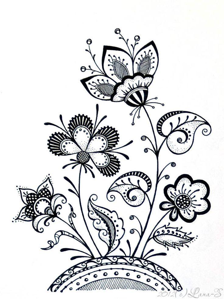 736x981 kartinochki zentangle flower doodles, drawings, doodles