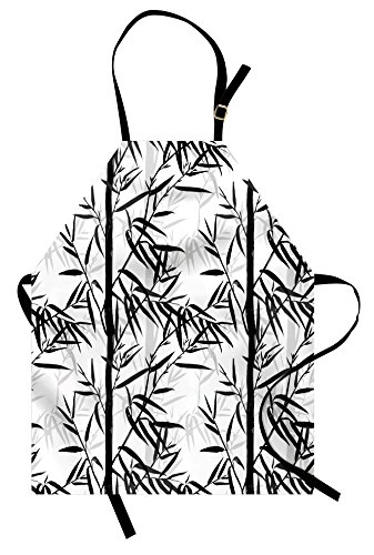 337x500 Lunarable Bamboo Apron, Abstract Forest Leaves Floral Chinese