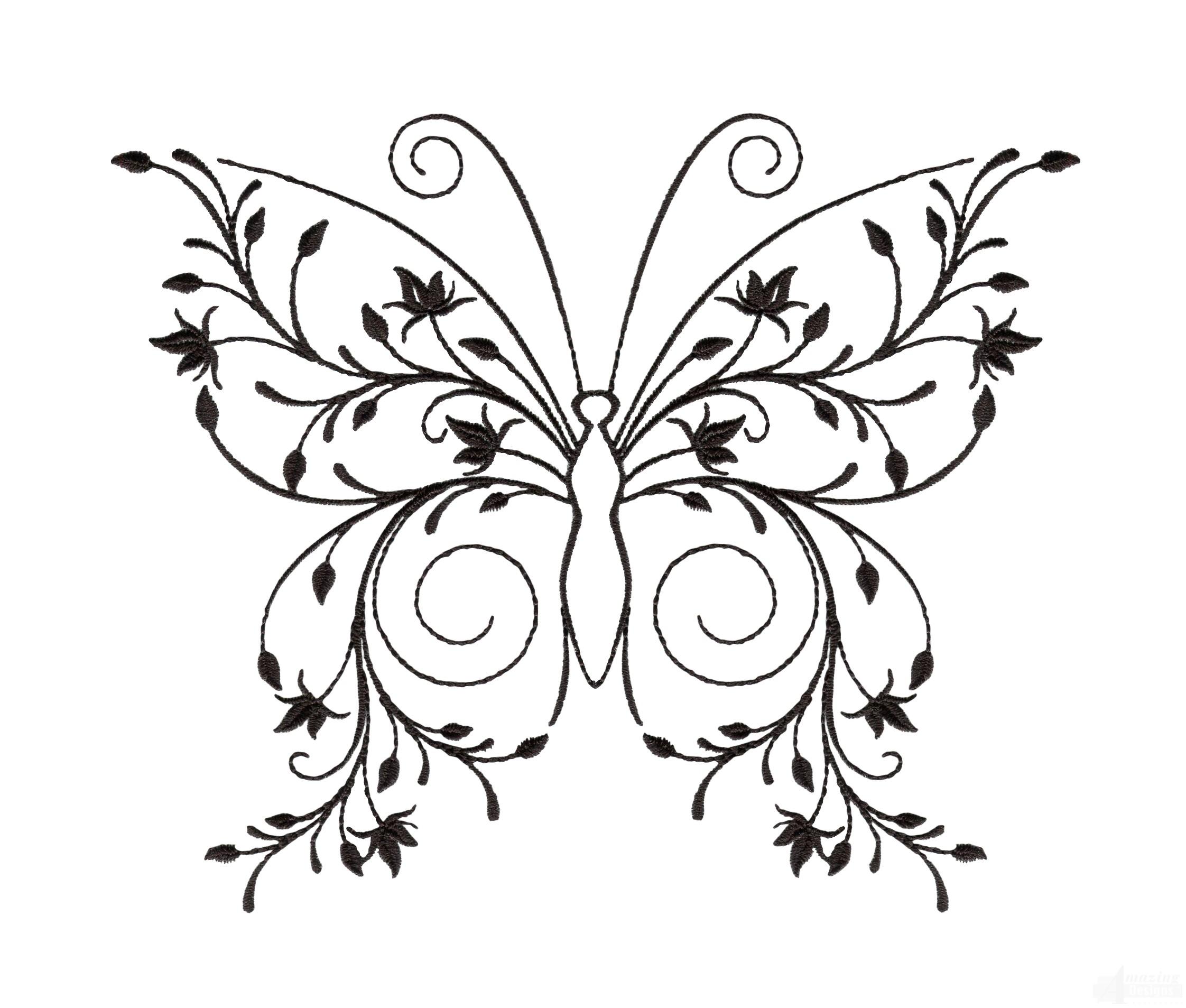 2244x1907 Butterfly Zen Garden Sketch Embroidery Design