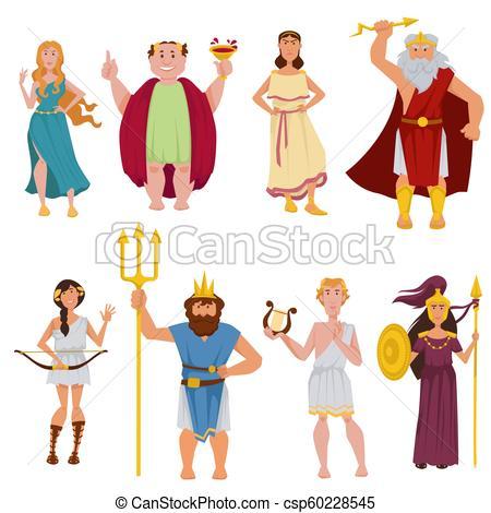 450x470 ancient greek gods vector cartoon characters greek gods