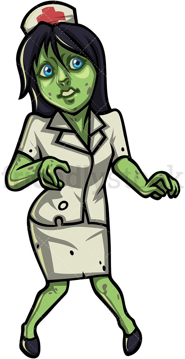 620x1200 Female Nurse Zombie Cartoon Clipart Vector
