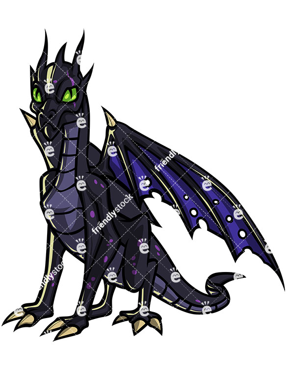 585x755 Flying Dragon Zombie Cartoon Clipart With Commercial License