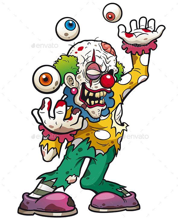 590x726 Vector Illustration Of Cartoon Clown Zombie Graphiciver