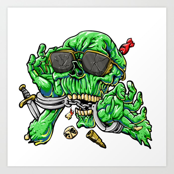 700x700 Handcuffed Zombie Cartoon Art Print