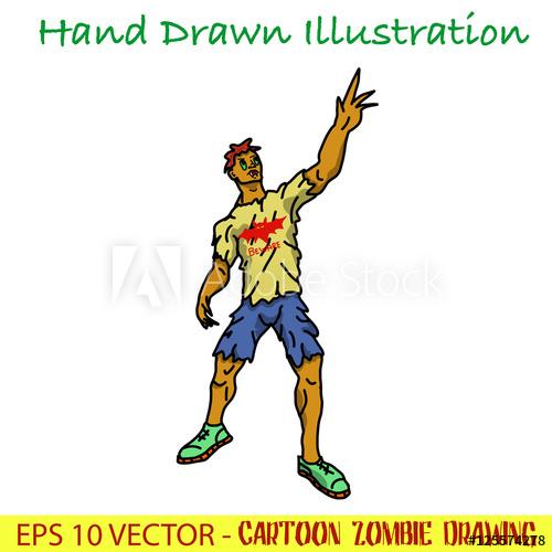 500x500 A Cartoon Zombie Drawing