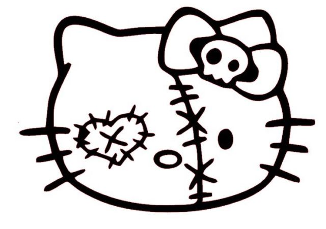 640x451 Hello Kitty Zombie Face Decal Sticker Car Bumper Window Wall Cute