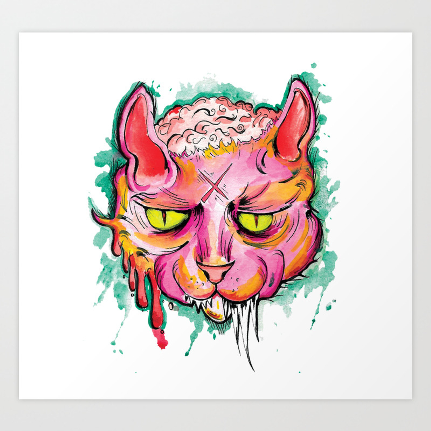1500x1500 Zombie Brain Cat Art Print