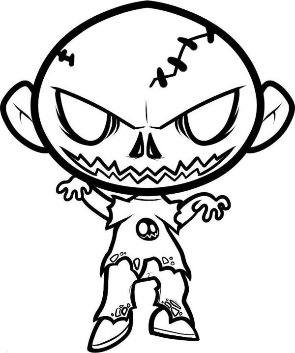 600x718 Scary Coloring Pages For Kids Jaxson Zombie Drawings
