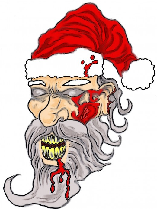 520x691 How Draw A Zombie Santa Face Drawing And Painting