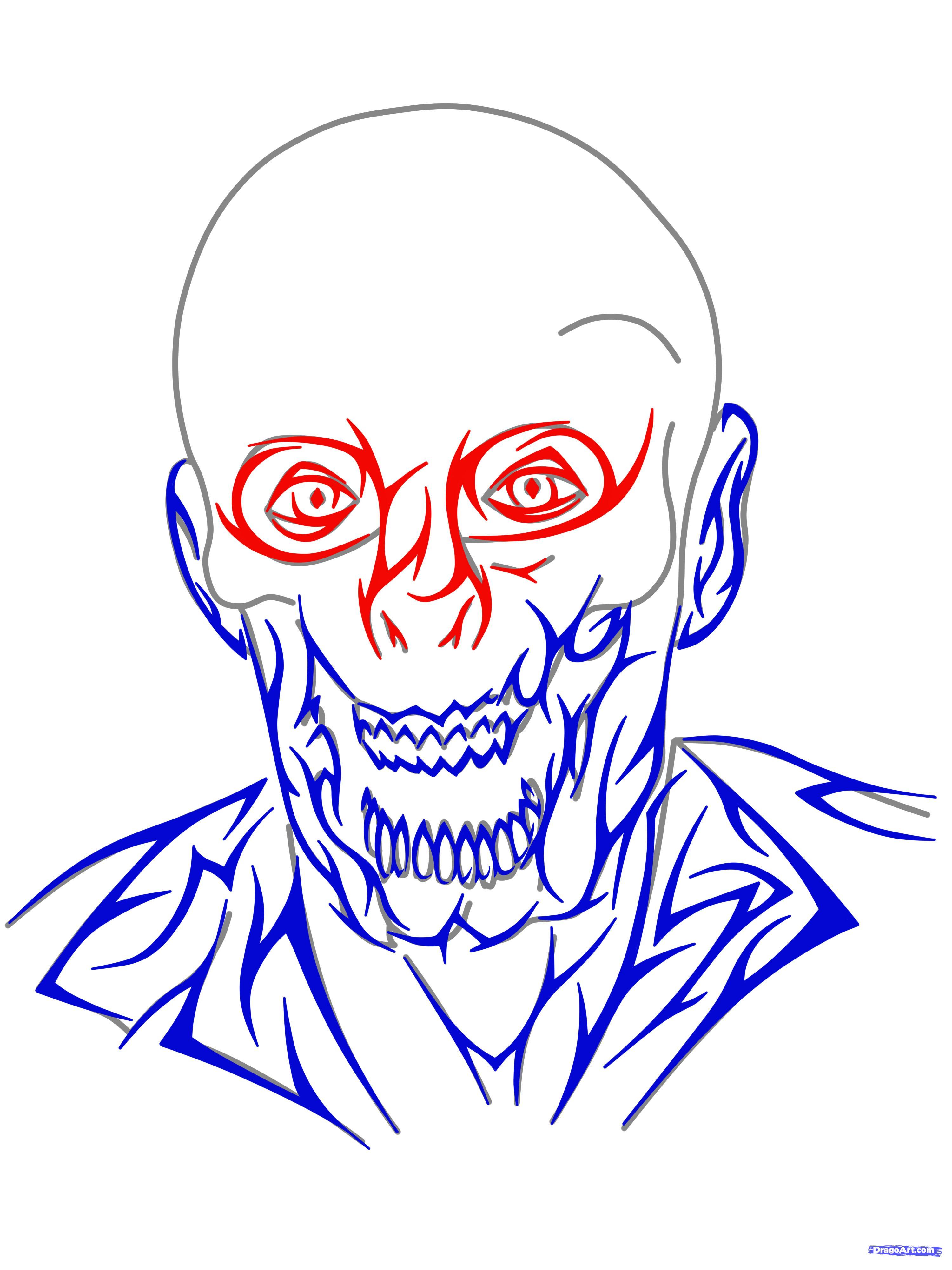 3000x4000 Step How To Draw A Tribal Zombie, Tribal Zombie Tattoo