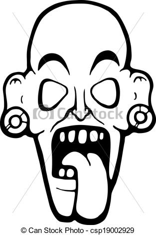 313x470 Ugly Zombie Face, Vector Illustration