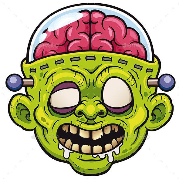 590x590 Vector Illustration Of Cartoon Green Monster Zombie Face Design