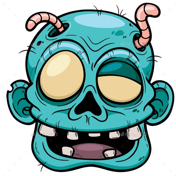 590x590 Vector Illustration Of Cartoon Zombie Face Graphic Design Trends