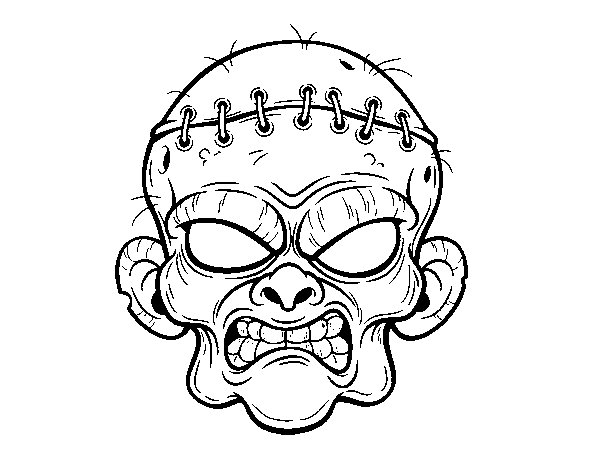 600x470 Zombie Face Coloring Page
