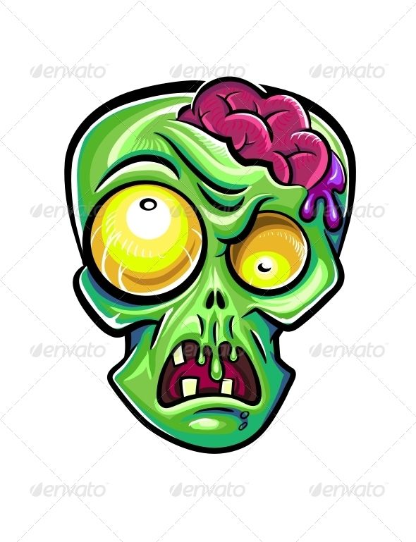 590x769 Zombies Head With Brains Vector Illustration Isolated On White