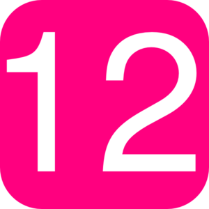 300x300 Hot Pink, Rounded, Square With Number 12 Clip Art