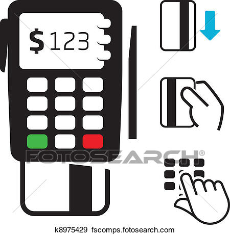 450x461 Clip Art Of Pos Terminal And Credit Card Icons K8975429