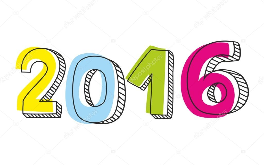1024x640 New Year 2016 Hand Drawn Pastel Vector Sign Isolated On White