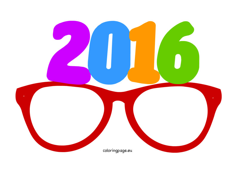 794x581 Party Glasses New Year 2016 Coloring Page
