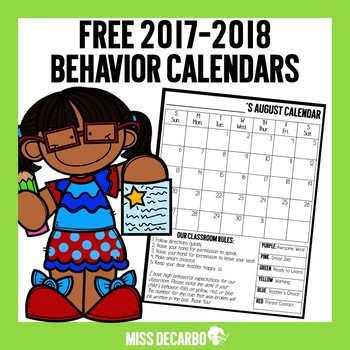 350x350 Free Behavior Calendars By Miss Decarbo Teachers Pay Teachers