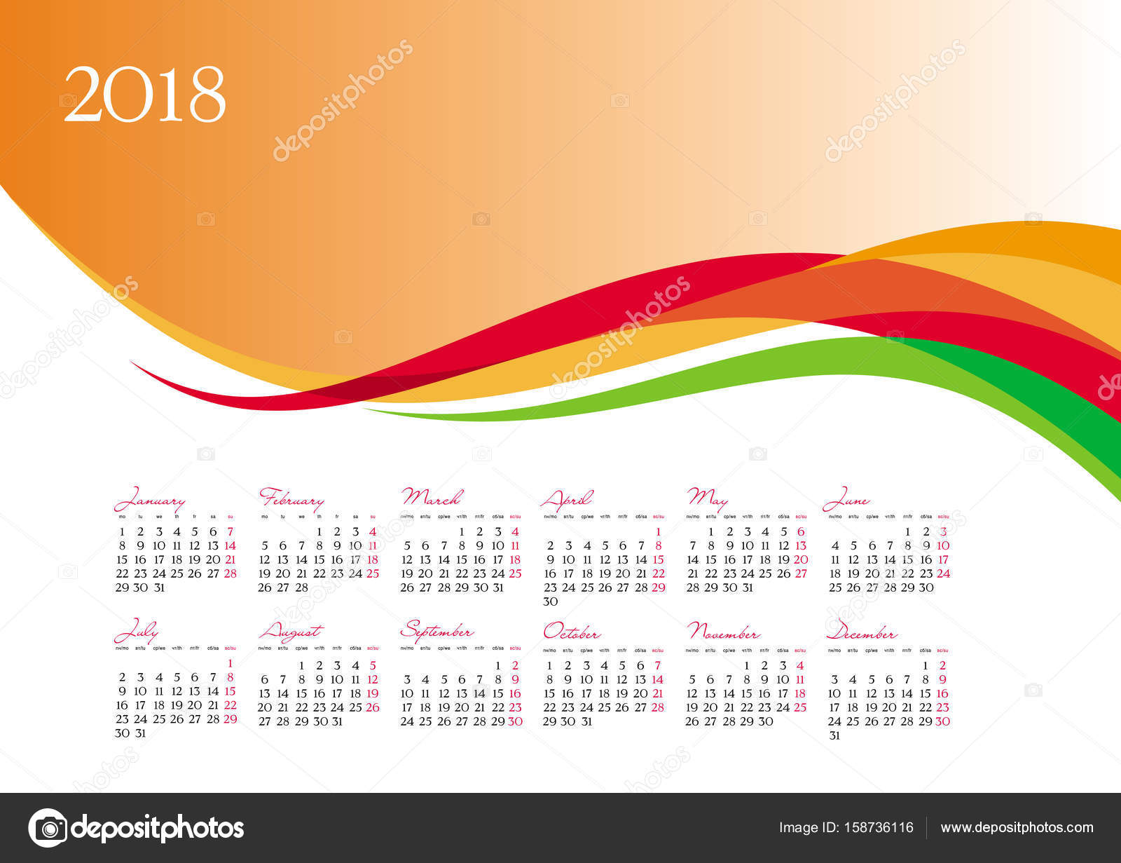 1600x1231 Template Of 2018 Calendar On Orange Background Stock Vector
