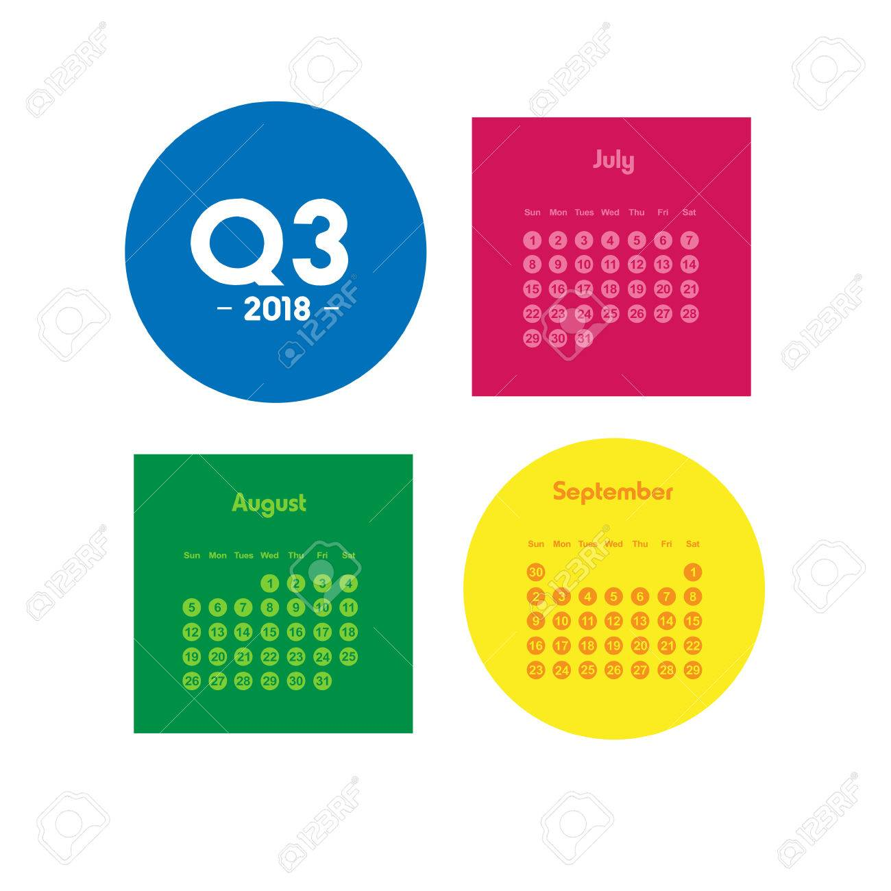 1300x1300 Third Quarter Of Calendar 2018 Royalty Free Cliparts, Vectors,