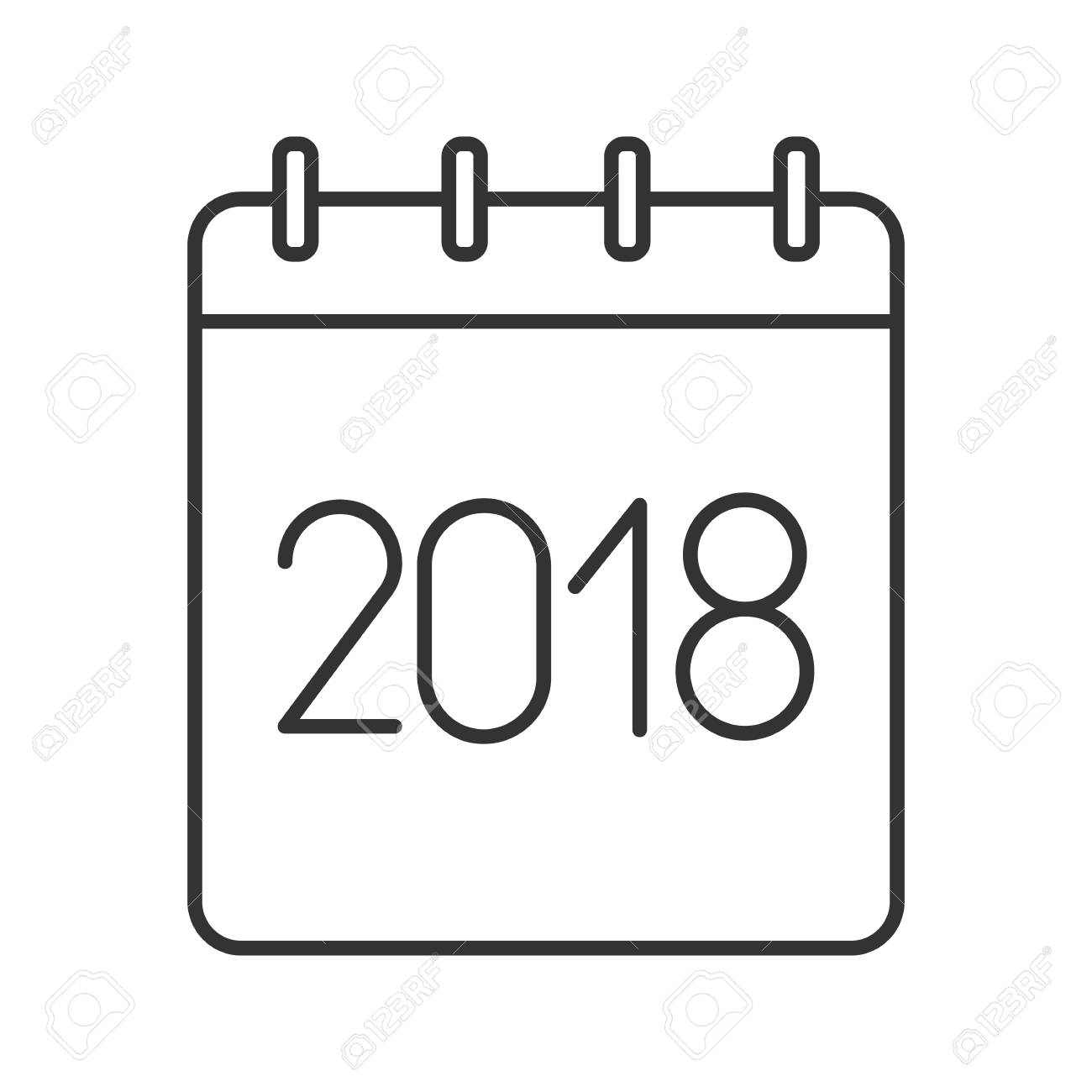 1300x1300 2018 Annual Calendar Linear Icon. Thin Line Illustration. Yearly