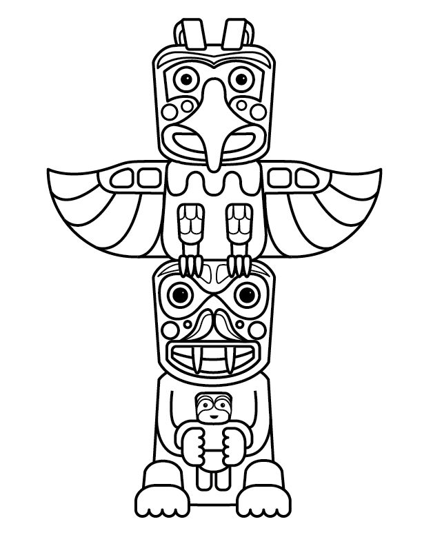612x792 Totem Pole Coloring Pages For Kids Coloring Pages