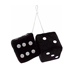 300x299 Vintage Parts 14553 3 Black Fuzzy Dice With White