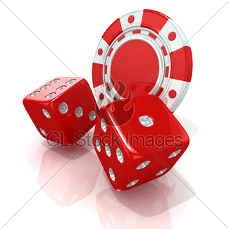 325x325 Black Gambling Chips And Dices. 3 D Gl Stock Images