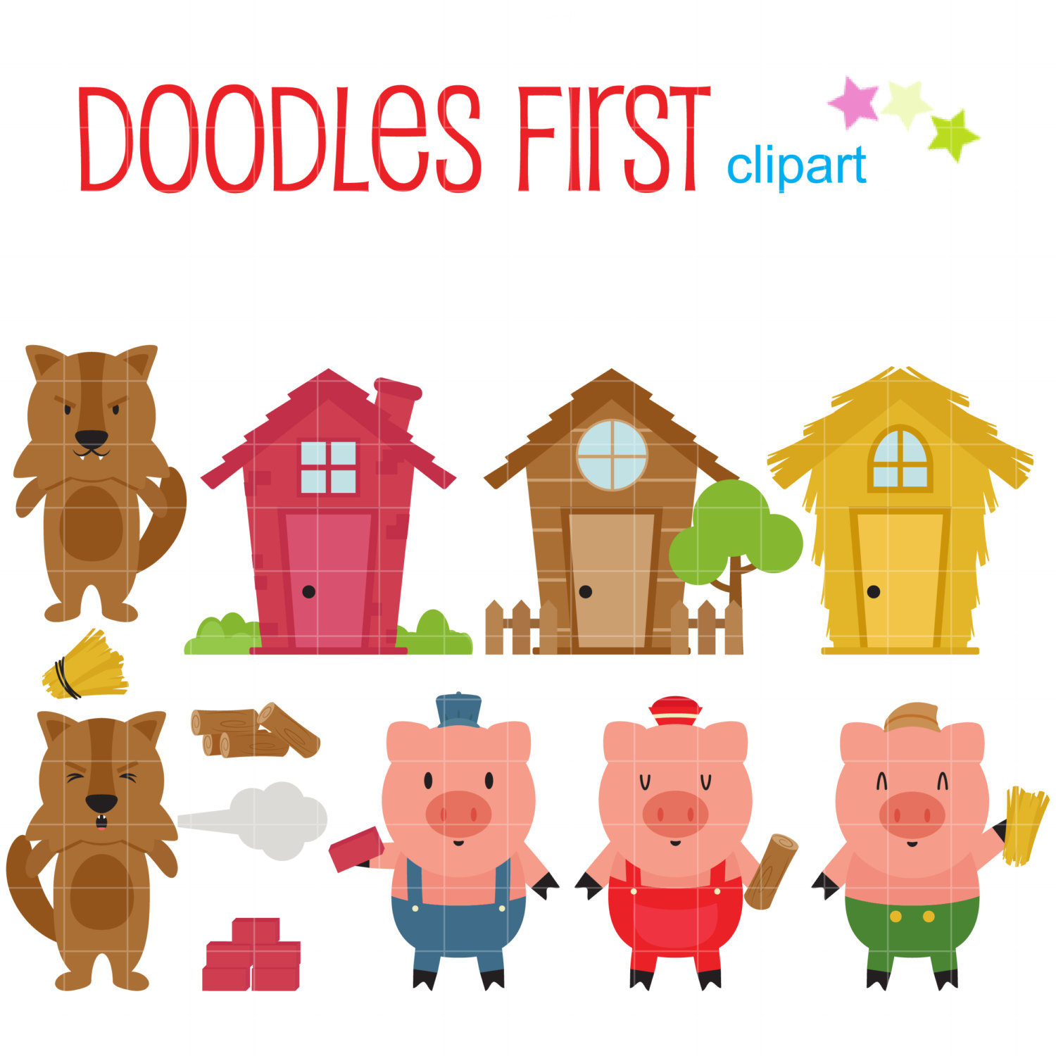 1500x1500 three little pigs clip art for scrapbooking card making