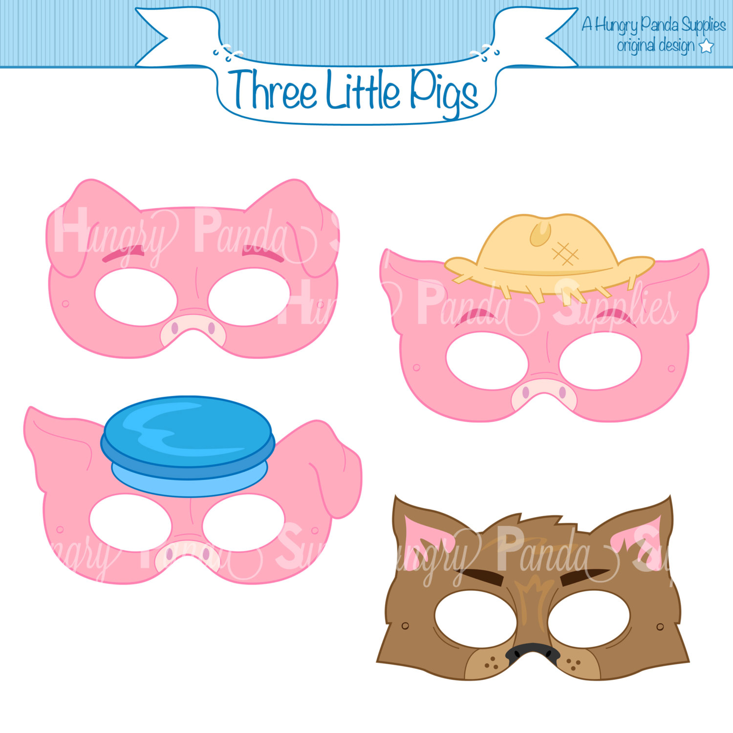 1500x1500 Three Little Pigs Printable Masks Three Little Pigs Big Bad