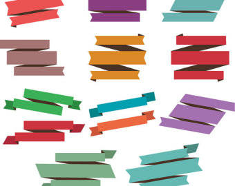 340x270 Retro Ribbon Clipart Etsy