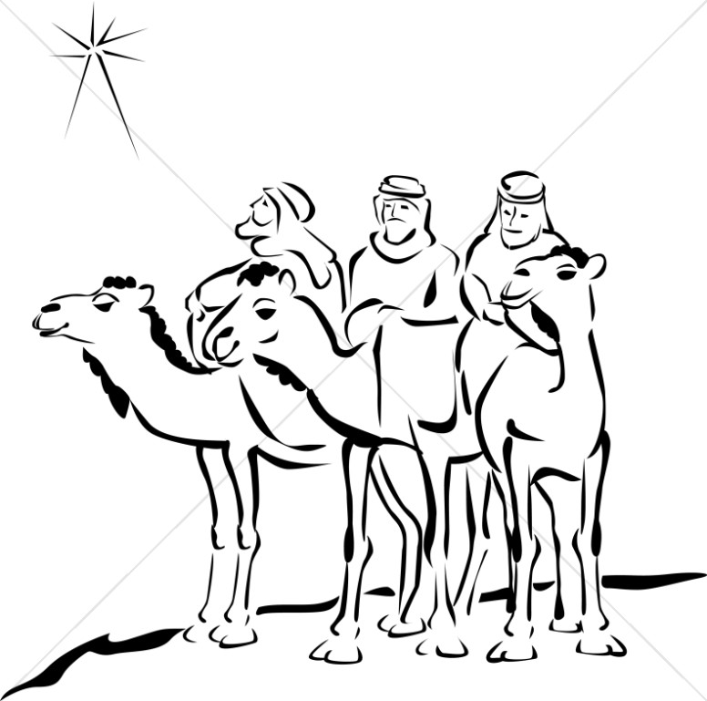 776x769 Woodcut Style Three Wise Men Epiphany Clipart