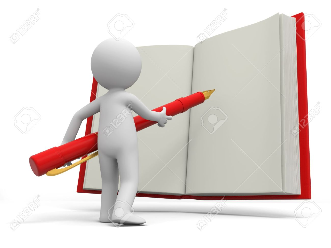1300x975 A 3d Person Writing With A Pen On A Book Stock Photo, Picture