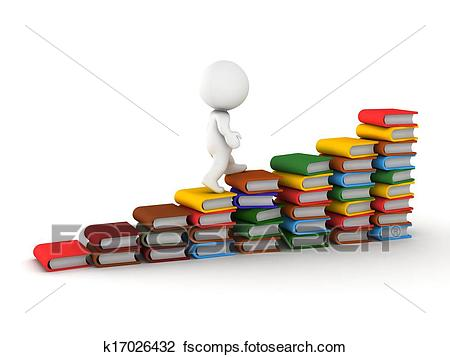 450x357 Clip Art Of 3d Man Climbing Stairs Made Of Book K17026432