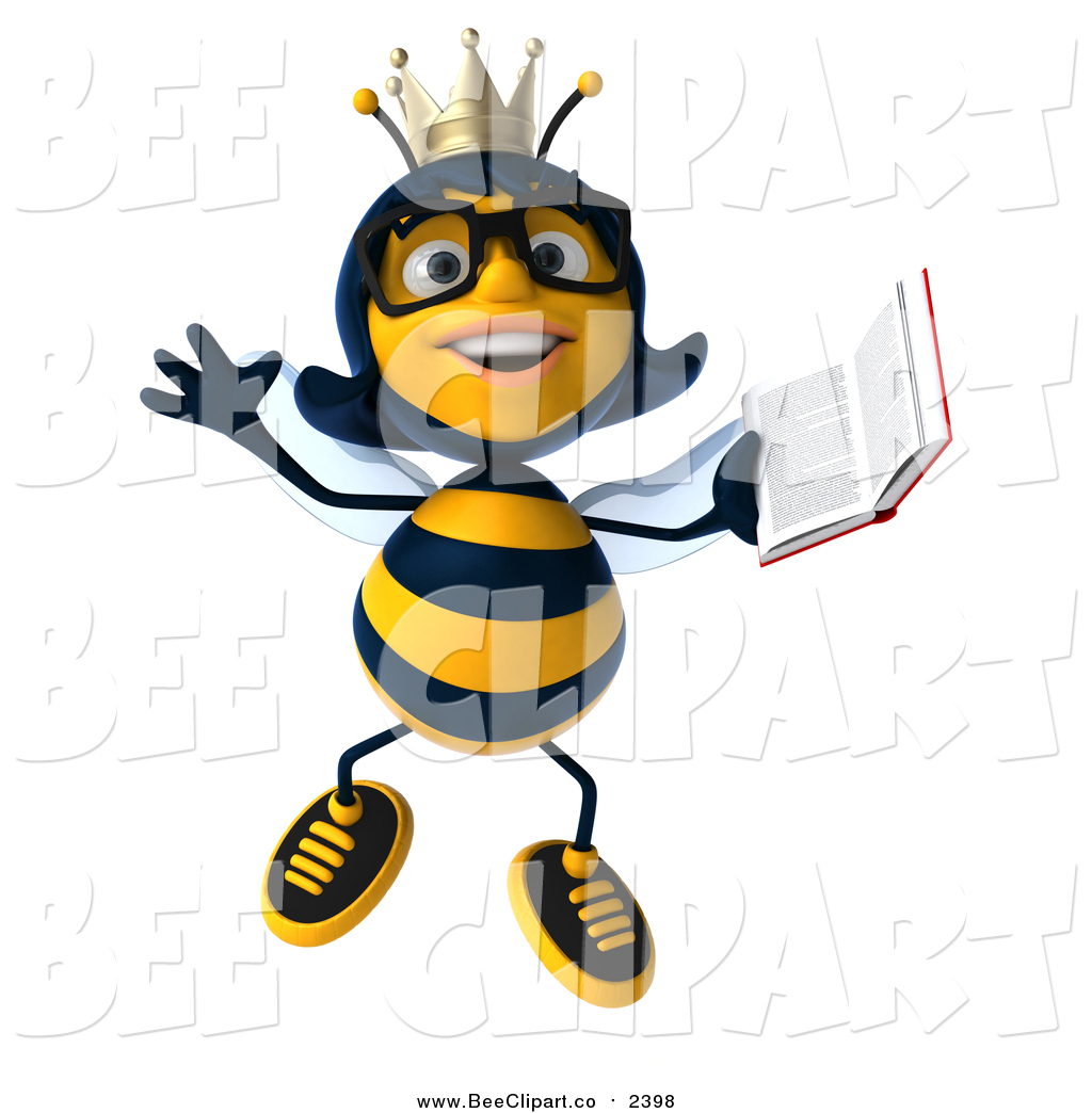 1024x1044 Clip Art Of A 3d Bespectacled Queen Bee Jumping With A Book By