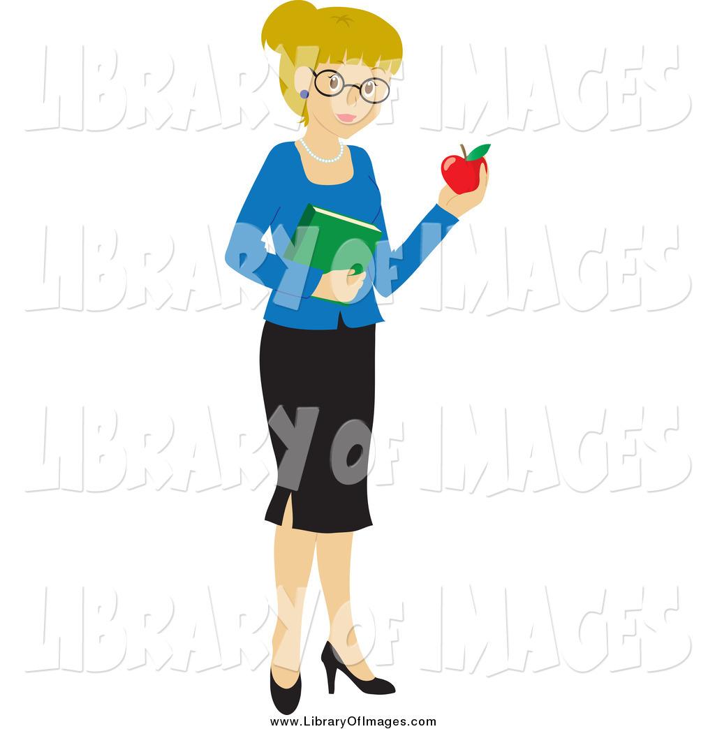 1024x1044 Clip Art Of A Blond White School Teacher Woman Carrying An Apple
