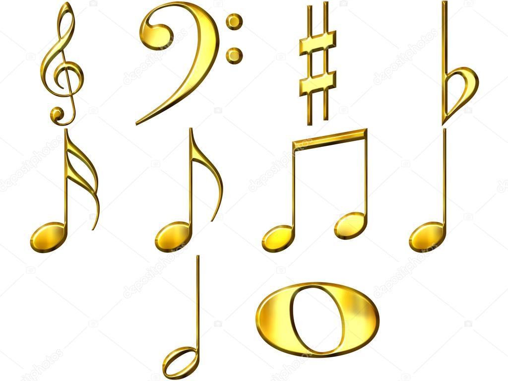 1024x768 3d Golden Music Notes Stock Photo Georgios